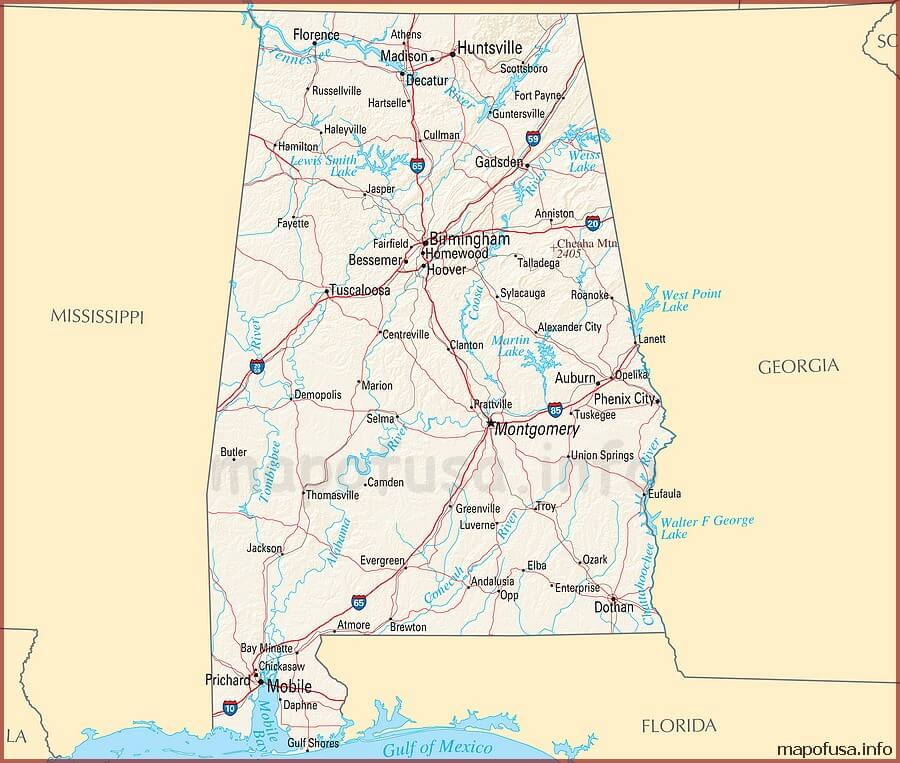 US States Map of Alabama
