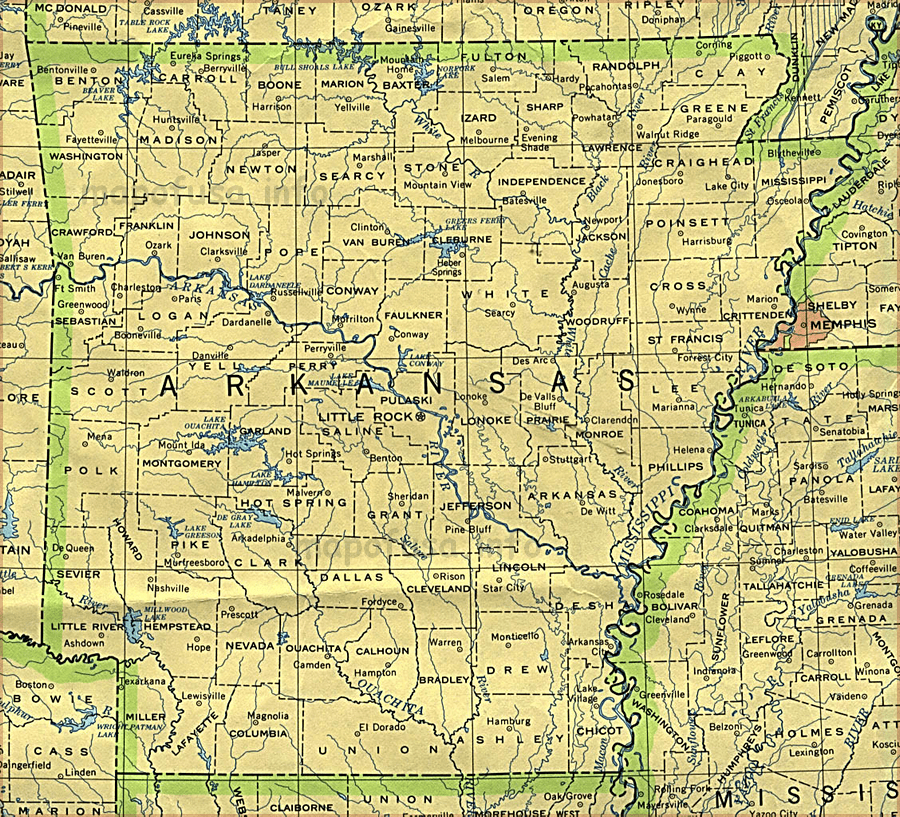Arkansas Maps of US State and County
