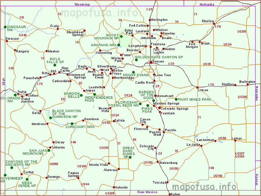 Colorado Maps of US State and County