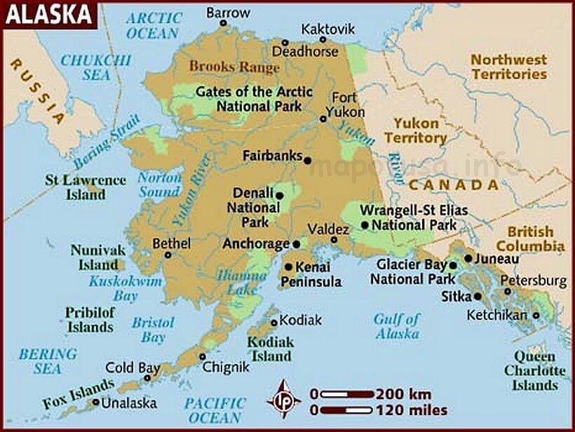 US of Alaska State Location Map