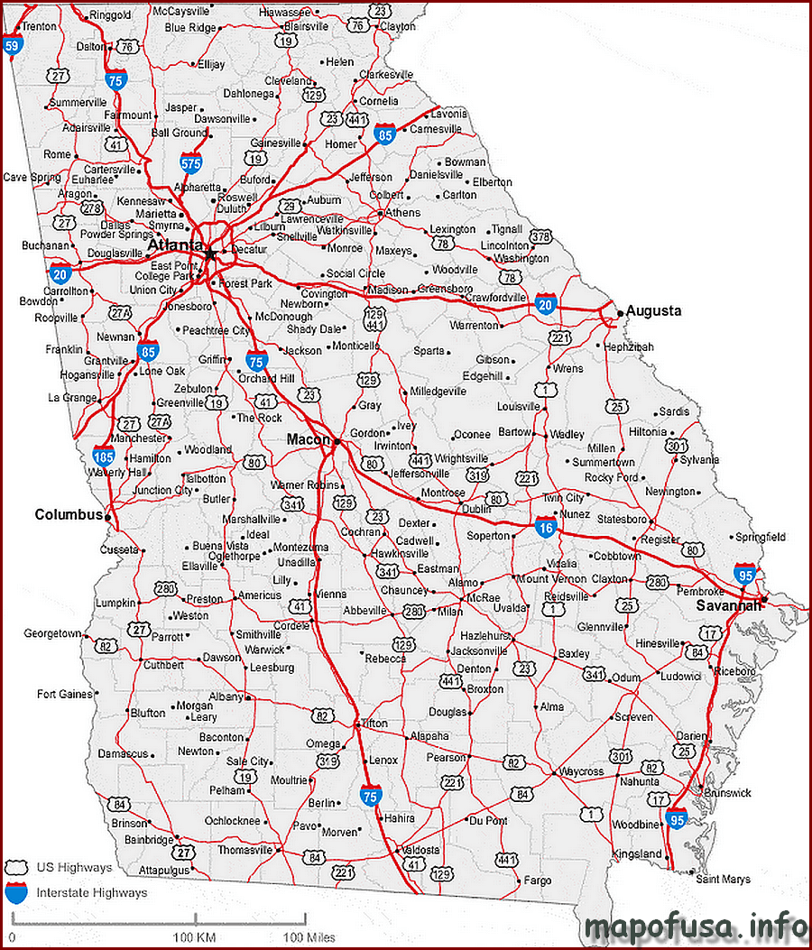 Georgia State Location Map of US